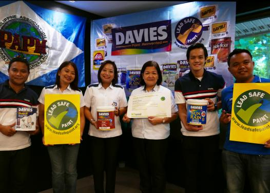 Paint industry, government and civil society leaders hail Boysen and Davies paints for being the first two companies in the world to obtain a Lead Safe Paint® mark under a newly-established global certification program. Photo by Faye Ferrer