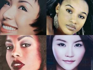 Images from advertisements for skin-lightening products.  Photo Illustration by 731. Photographs: AP Photo. Getty Images (2). Alamy