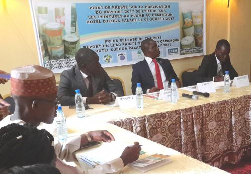 CREPD and Cameroonian Ministry representatives at the press briefing, July 2017