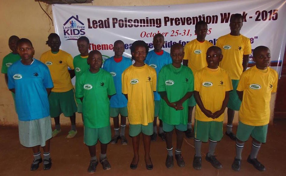 Children at Standard Junior Primary School promoting awareness about lead dangers