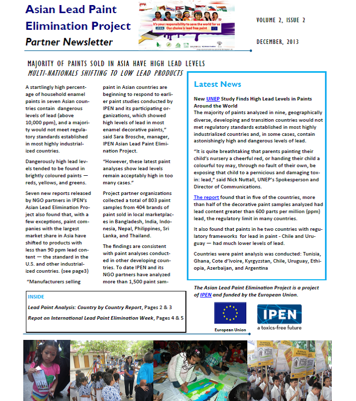 Dec. 2013 Asia Lead Paint newsletter cover
