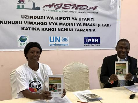 AGENDA representative Ms. Dorah Swai and Mr. Safari Fungo from Tanzania Bureau of Standards at the press briefing, July, 2017