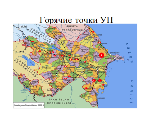 Azerbaijan map of obsolete pesticide storage