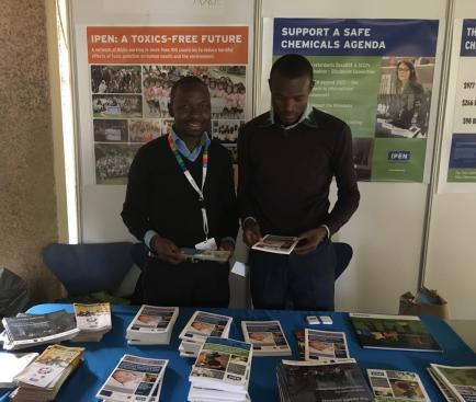 Griffins Ochieng and Fredrick Onyango from CEJAD, Kenya at the IPEN booth (Photo by Sara Brosché)