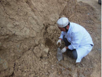 Soil monitoring for mercury contamination near Khaidarkan and Chauvay mines (Photo by IEE)