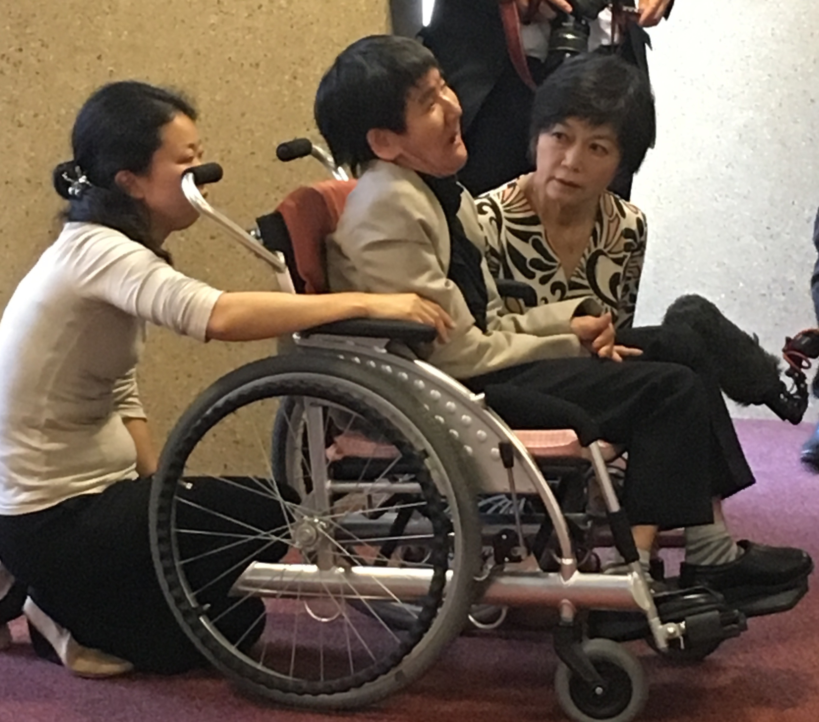 Shinobu Sakamoto, Minamata Disease survivor and long-time activist, along with Yu Tani (Carer) and Hiroko Saisho (translator).