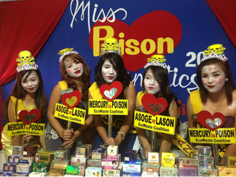 "EcoWaste Coalition staged a mock ""Miss Poison Cosmetics"" beauty pageant as part of their IMEAP project to draw public attention to the danger of using mercury-containing skin whitening products. Photo by EcoWaste Coalition."