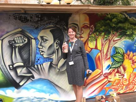 Sara Brosché ready to paint the mural at UNEA2