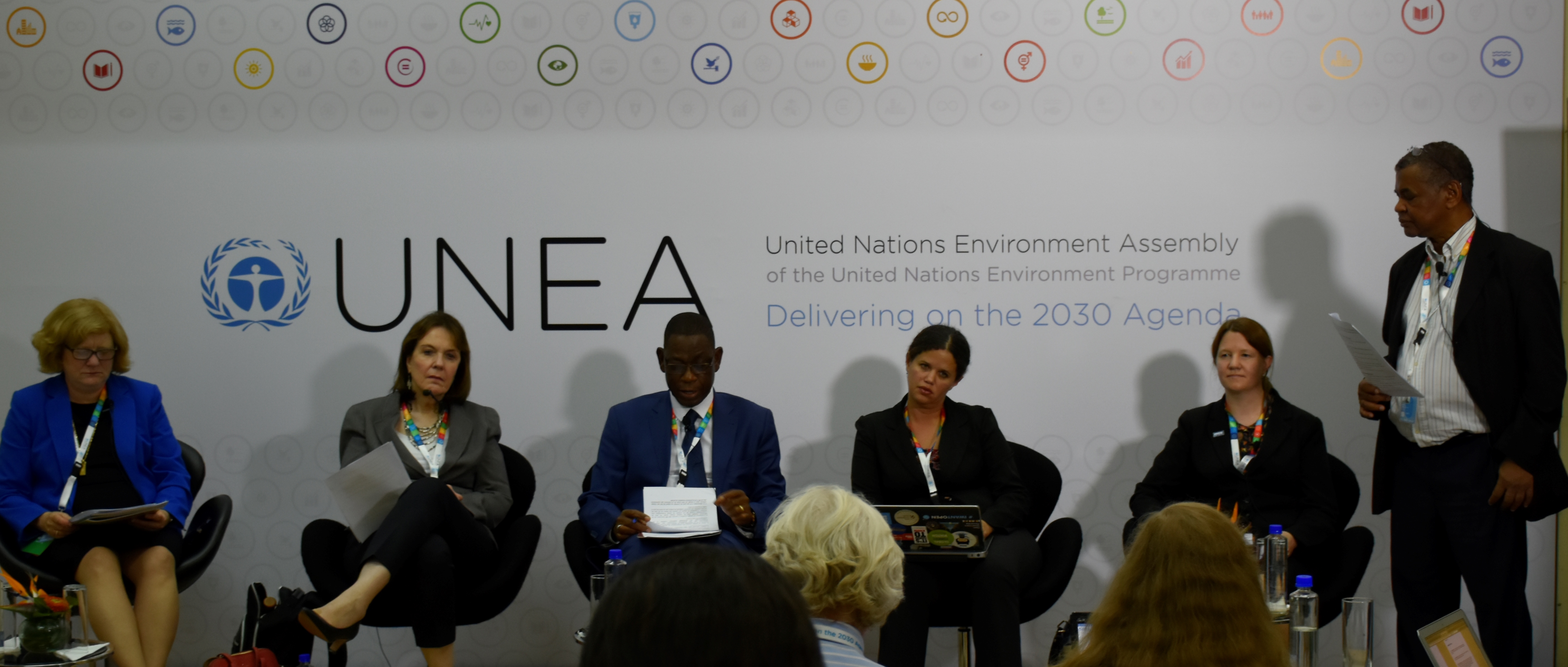 Sara Brosché and other panelists at the UNEA2 side event