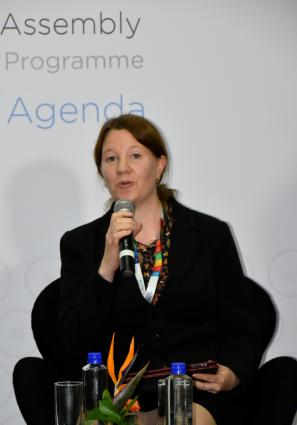 Sara Brosché speaking at the UNEA2 media event