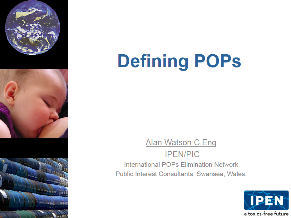 Alan Watson's Defining POPs presentation