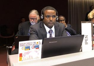 Dr. Tadesse Amera waiting to make IPEN's closing statement (Photo by Yuyun Ismawati)