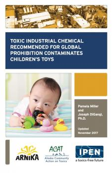 Cover of booklet: Toxic Industrial Chemicals Recommended for Global Prohibition Contaminates Children's Toys