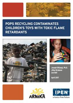 Cover of booklet: POPs Recycling Contaminates Children's Toys with Toxic Flame Retardants