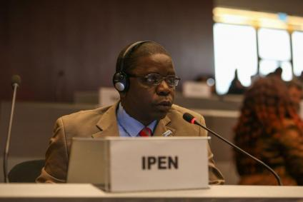 Gilbert Kuepouo (CREPD, Cameroon) giving an intervention in plenary