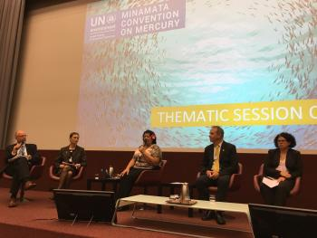 Imogen Ingram speaks at the Thematic Session on Water at Mercury Treaty COP1.