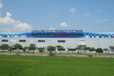 The Samsung Electronics plant in Bac Ninh displays its massive export numbers on the outside of the building. Photo credit: http://www.businesskorea.co.kr/english/news/industry/8785-samsung-made-vietnam-50-samsung-mobile-phones-made-vietnam
