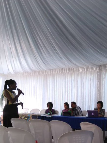 Peninah Atwine speaks at UNEA side event about the dangers of working in the ASGM industry.