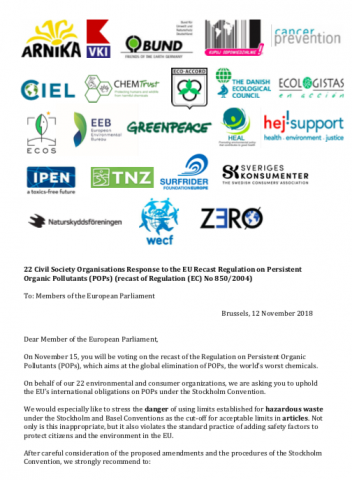 Letter from 22 environmental NGOs urges the EU to vote for