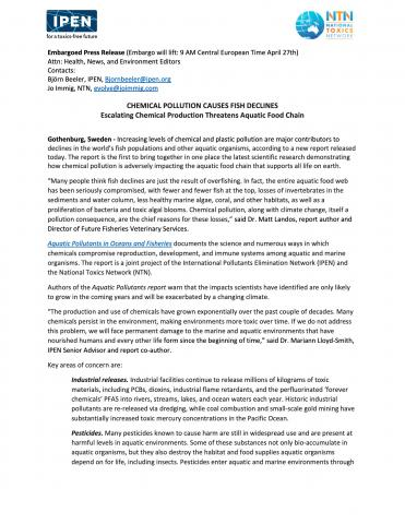 Chemical Pollution Causes Fish Declines - Press Release